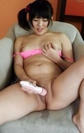 Miyuki Nonomura has orgasm from vibrator and makes couch wet