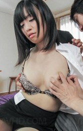 Yui Kyouno Asian sucks two tools and gets them in double teaming