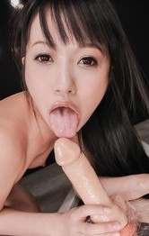 Kotomi Asakura Asian has strong squirt after riding licked dildo