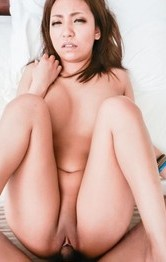 Hikari Asian rides dong with hairy cunt a lot and licks it after